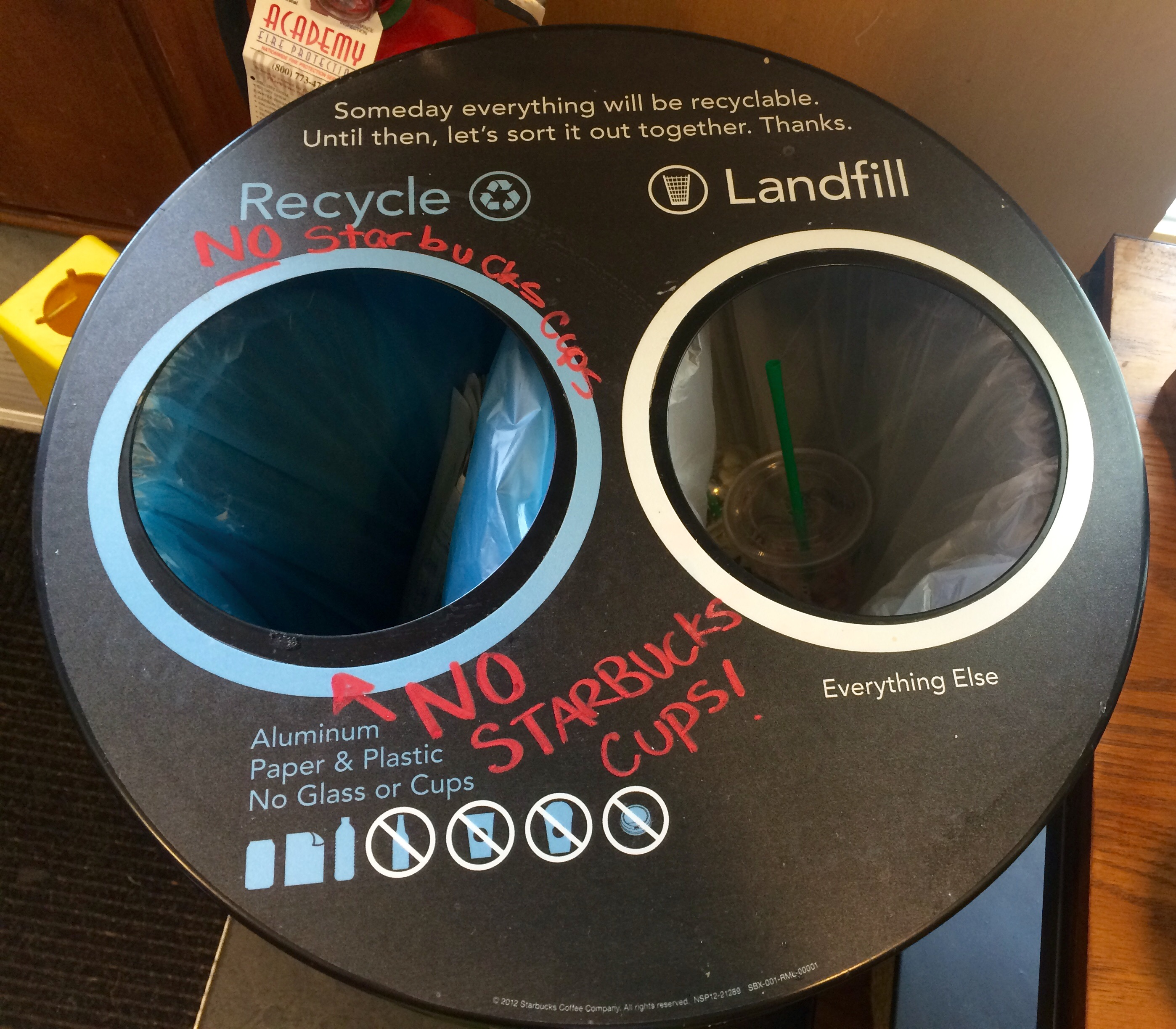 Starbucks Recycle Fail